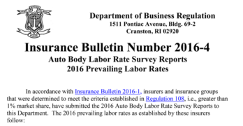 Rhode Island Releases 2016 Labor Rate Survey Reports for Class A and B Collision Repair Facilities