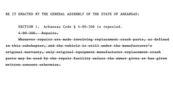 Arkansas Bill Seeks to Eliminate OEM Collision Repair Parts Requirement