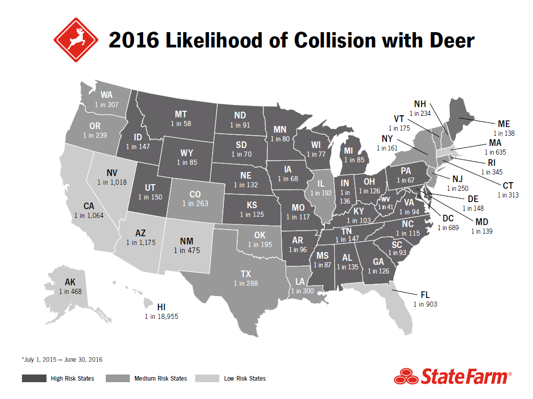 The top five states a driver was most likely to have a claim from a
